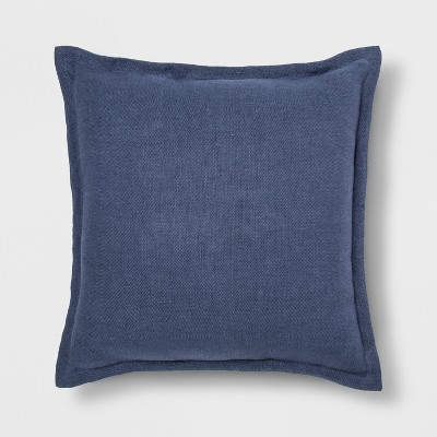 Washed Cotton/Linen Square Throw Pillow Navy - Threshold™
