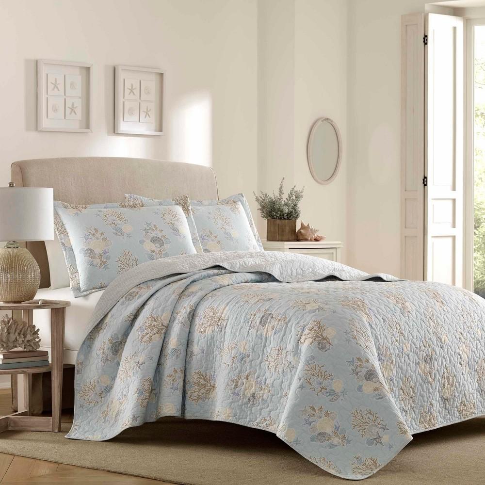 Turquoise Seaside Quilt Set (Twin) - Laura Ashley, Blue