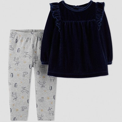 Baby Girls' 2pc Velvet Tunic Set - Just One You® made by carter's Navy Blue/Gray 9M