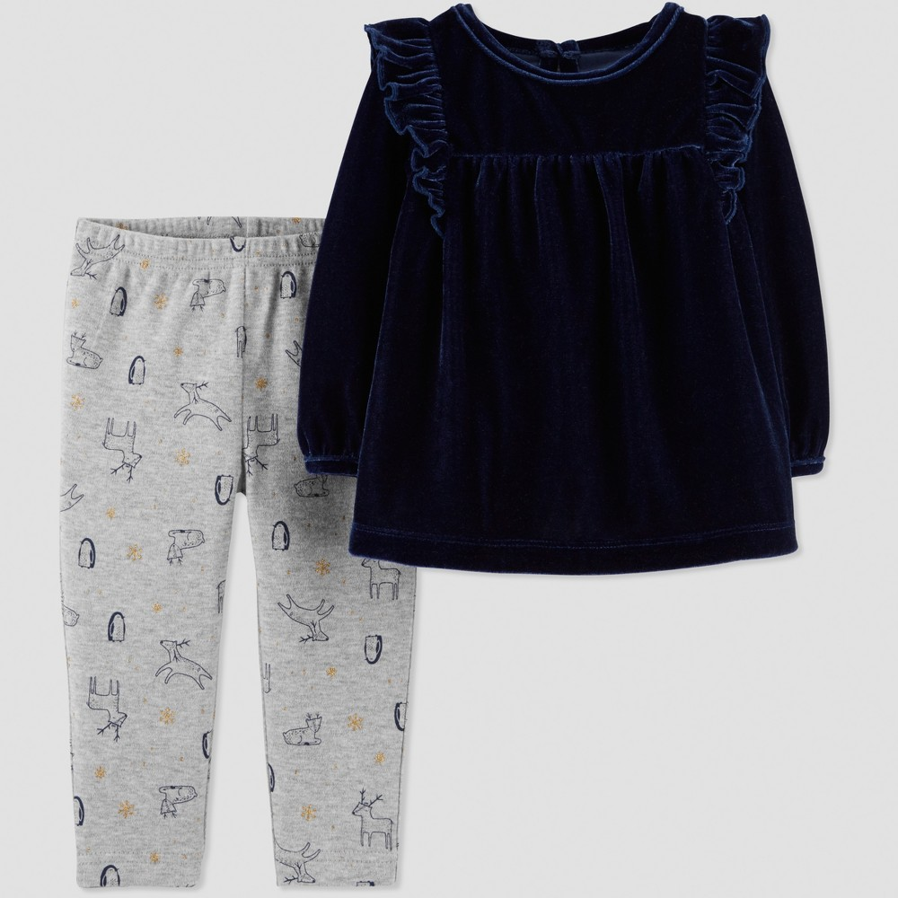 Baby Girls' 2pc Velvet Tunic Set - Just One You made by carter's Navy Blue/Gray 24M