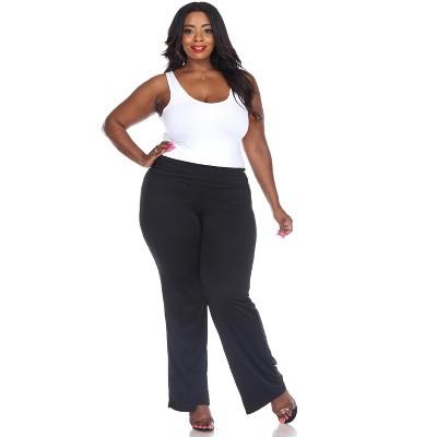 Women's Plus Size Solid Palazzo Pants - White Mark