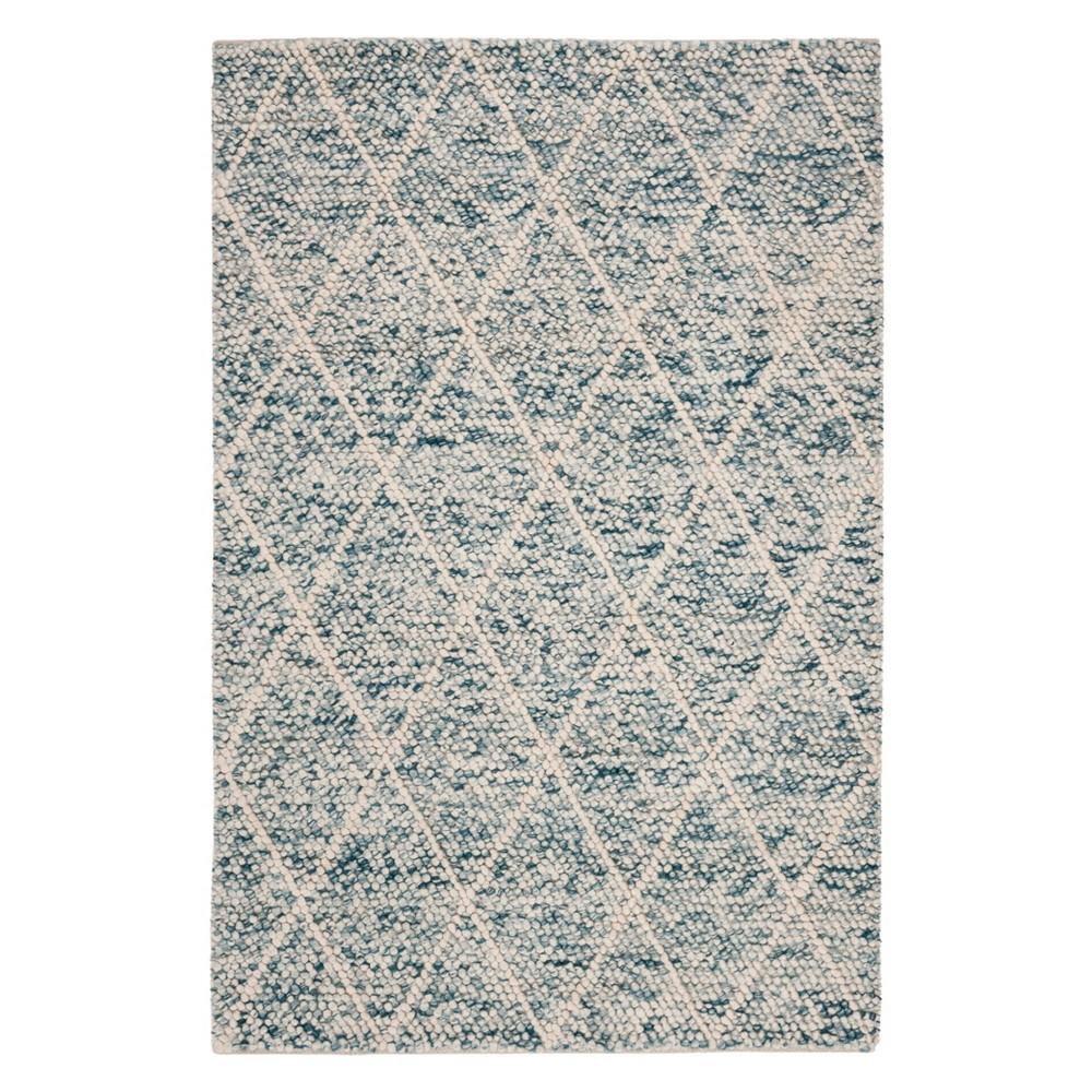 5'X8' Diamond Woven Area Rug Ivory/Blue - Safavieh