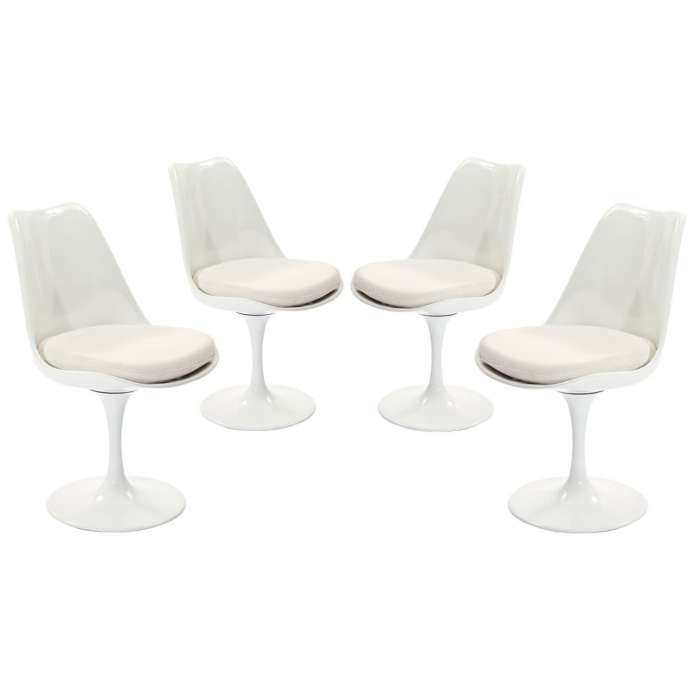 Lippa Dining Side Chair Fabric Set of 4 White - Modway