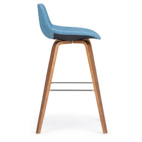 Enjoyable Cacey Bentwood Counter Height Stool Set Of 2 Medium Blue Linen Fabric Wyndenhall Cjindustries Chair Design For Home Cjindustriesco