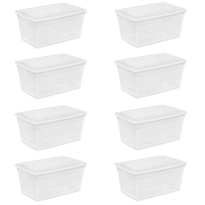 Sterilite 90-Quart Storage Box with Clear Base and White Lid (8 Pack)   16668004