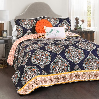 Navy Harley Quilt Set (Full/Queen)5pc - Lush Décor