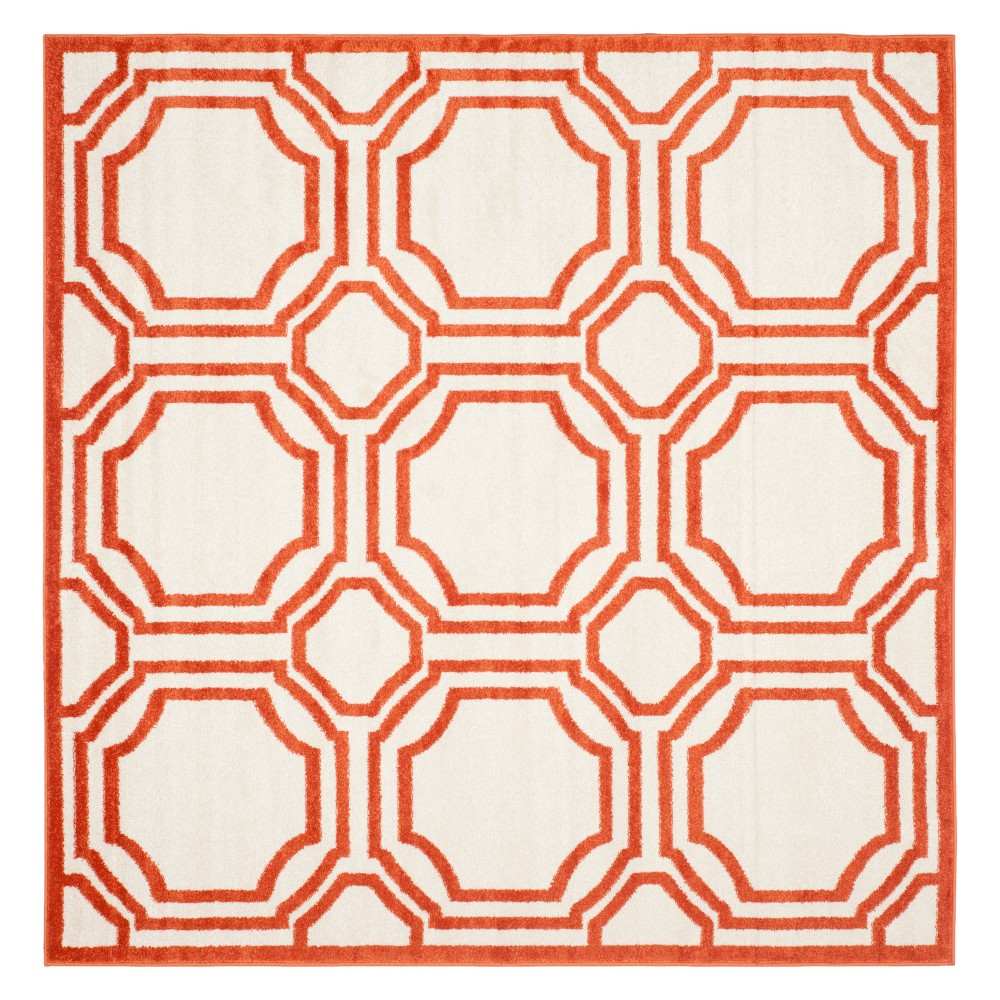 Amala Square 5'X5' Indoor/Outdoor Rug - Orange/Ivory - Safavieh