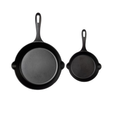 "Victoria 6.5""& 10"" Preseasoned Cast Iron Skillet Set"