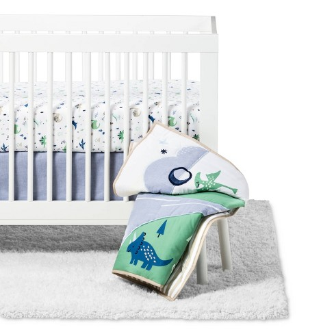 Crib Bedding Set Dino Boy 4pc - Cloud Island™ Blue/Green - image 1 of 4