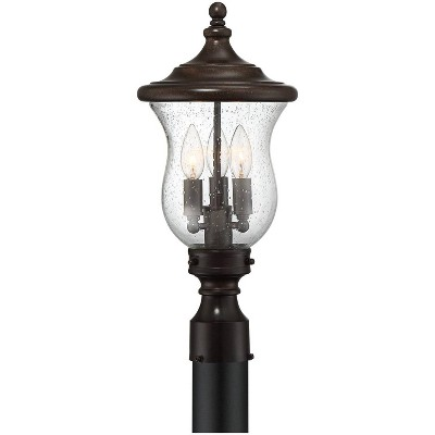 """Franklin Iron Works Outdoor Post Light Fixture LED Dimmable Bronze 19"""" Clear Seedy Glass for Exterior Garden Yard Driveway"""