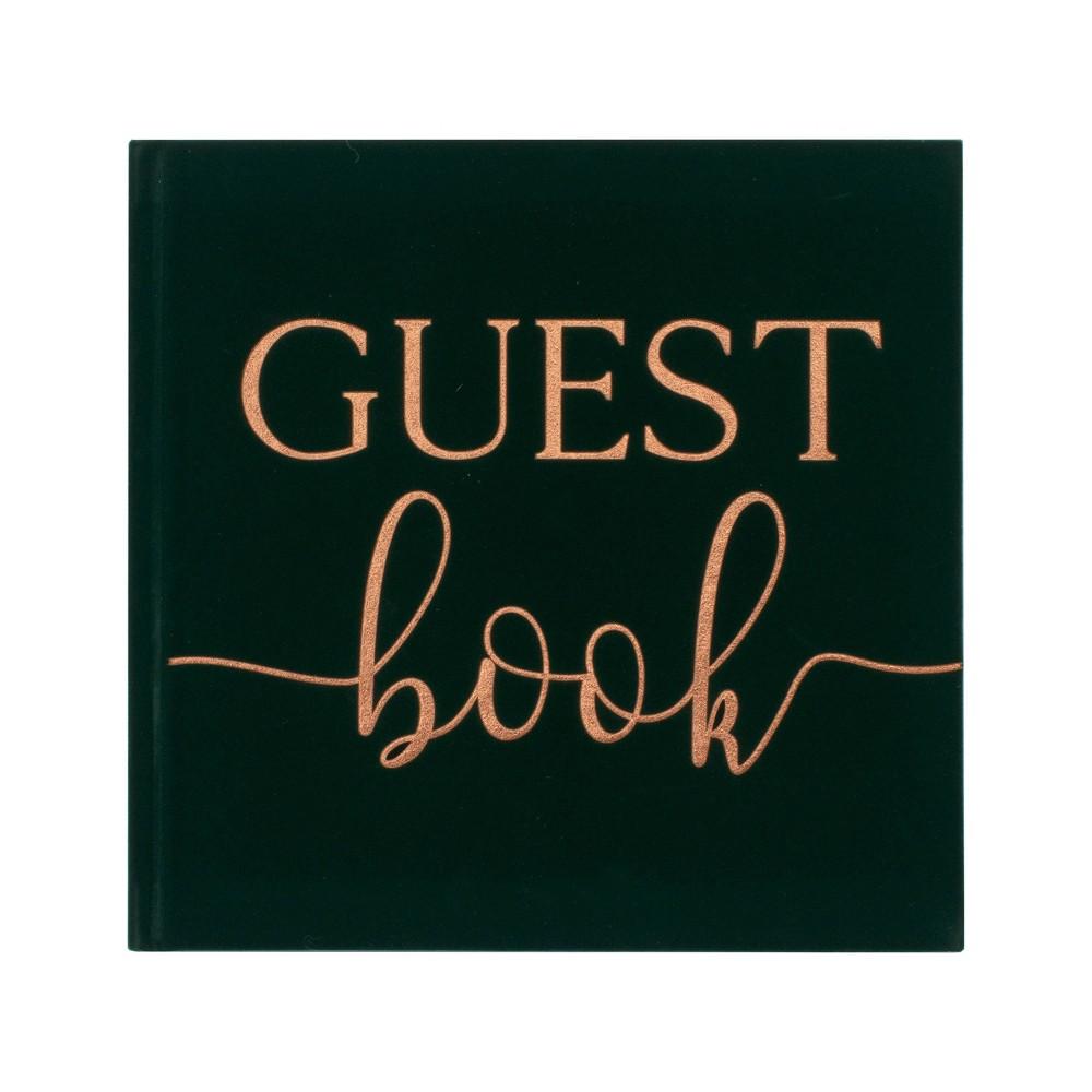 Image of Velvet Foiled Guest Book Green
