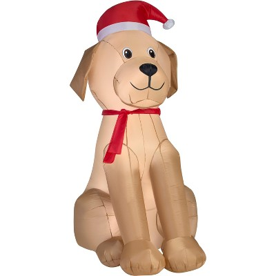 Gemmy Christmas Airblown Inflatable Golden Retriever OPP, 6 ft Tall, Multicolored