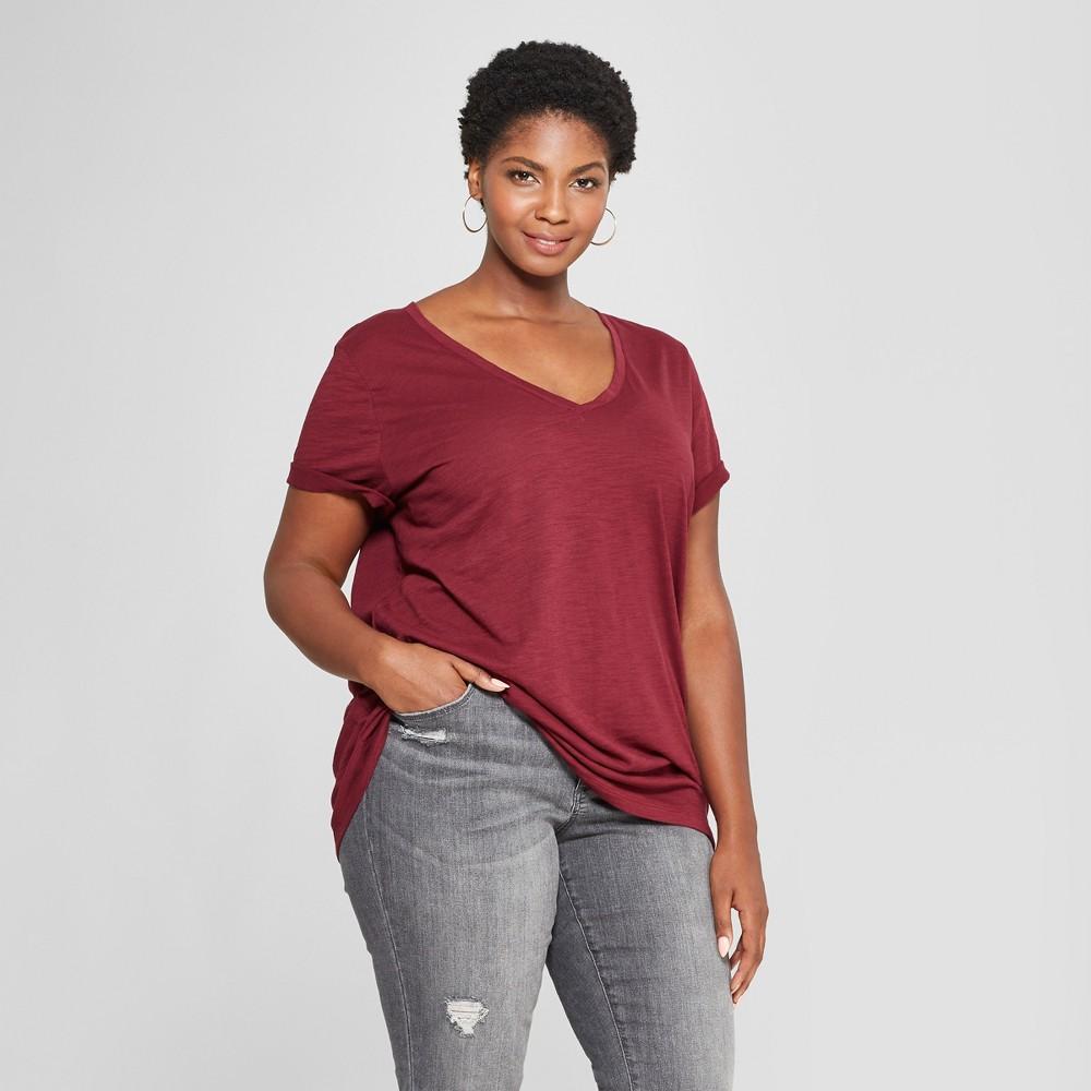 Women's Plus Size V-Neck Short Sleeve T-Shirt - Ava & Viv Burgundy (Red) 1X