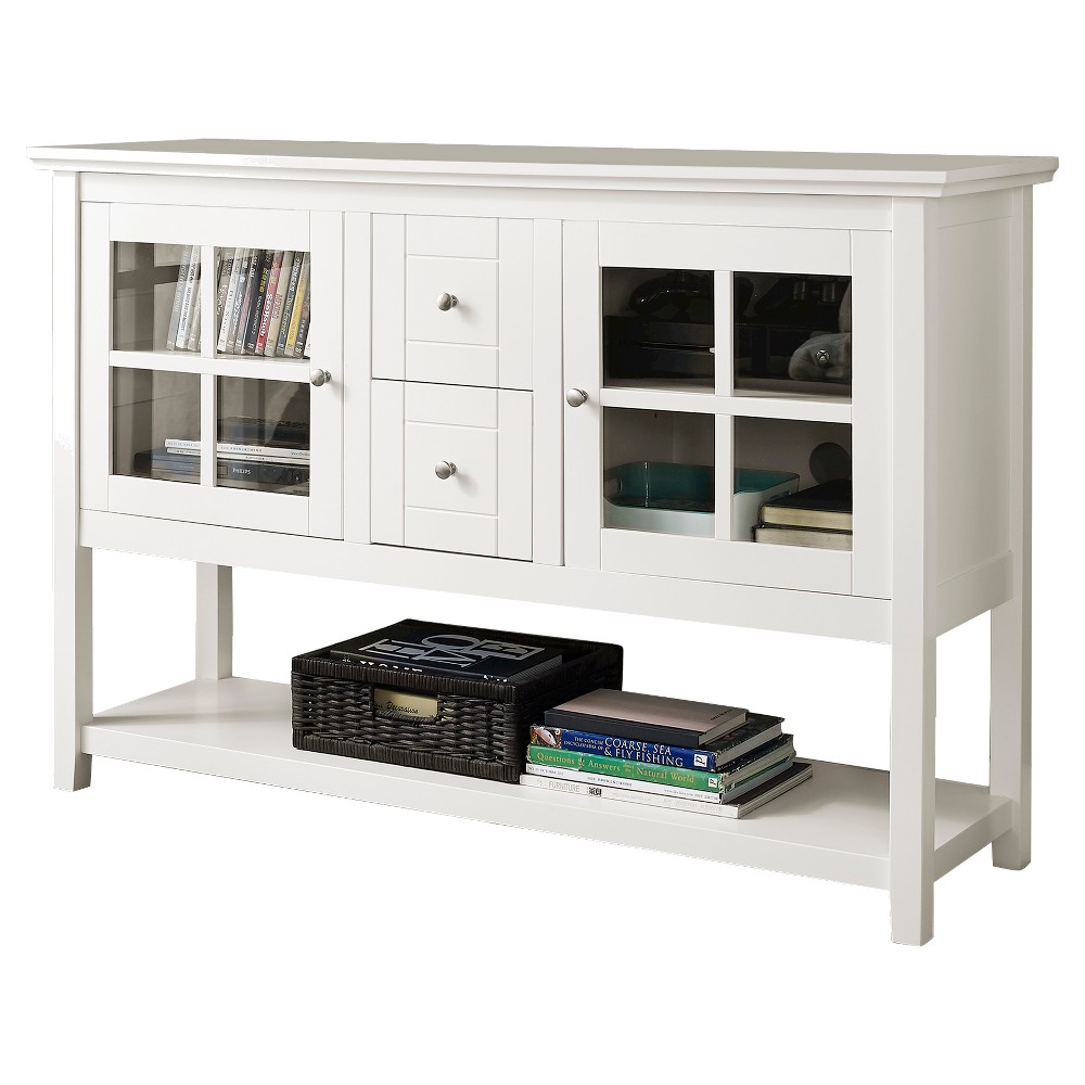 52 Wood Console Table Buffet TV Stand - White - Saracina Home