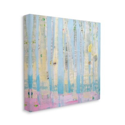 Stupell Industries Abstract Soft Birch Trees Pink Blue Landscape Painting