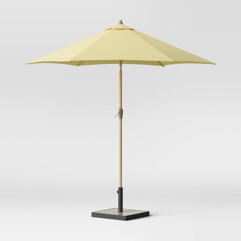 9' Round Patio Umbrella - Light Wood Pole - Threshold™ - image 1 of 3