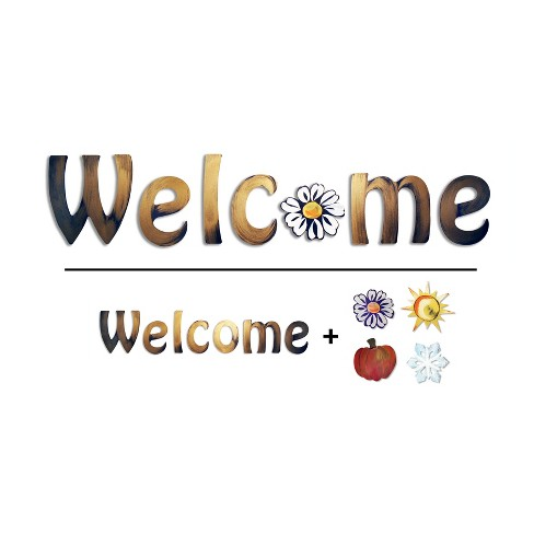 Welcome with Interchangeable Icons Bronze 32.5 x 11 x .25 - Letter2Word - image 1 of 3