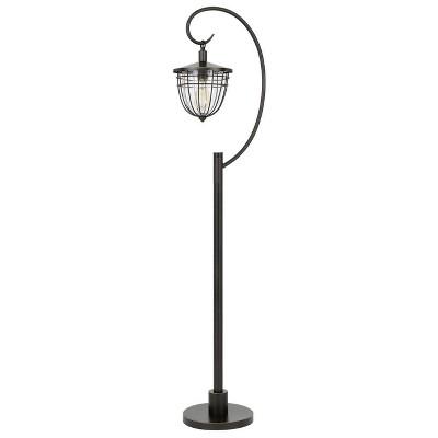 "63"" Alma Metal and Glass Down Bridge Lantern Style Floor Lamp (Includes Light Bulb) Dark Bronze - Cal Lighting"
