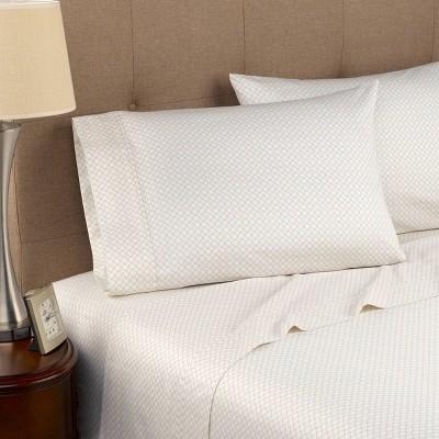 Queen 300 Thread Count Organic Cotton Printed Sheet Set Beige Geo - Modern Living