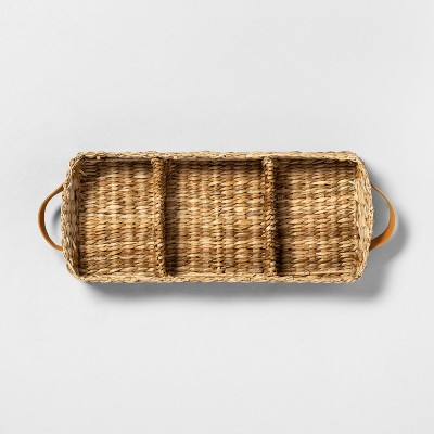 3 Compartment Woven Tank Tray with Leather Handles - Hearth & Hand™ with Magnolia