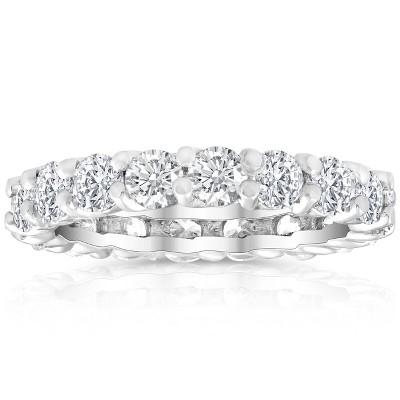 Pompeii3 2 Ct Lab Created Moissanite Eternity Ring Womens Wedding Band 14k White Gold