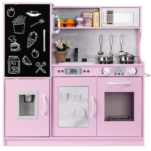 Best Choice Products Pretend Play Kitchen Wooden Toy Set For Kids With Telephone Utensils Oven Microwave Pink Target