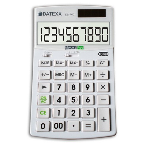 Datexx Hybrid Power 10 Digit Desktop Calculator - White (DD-760) - image 1 of 1