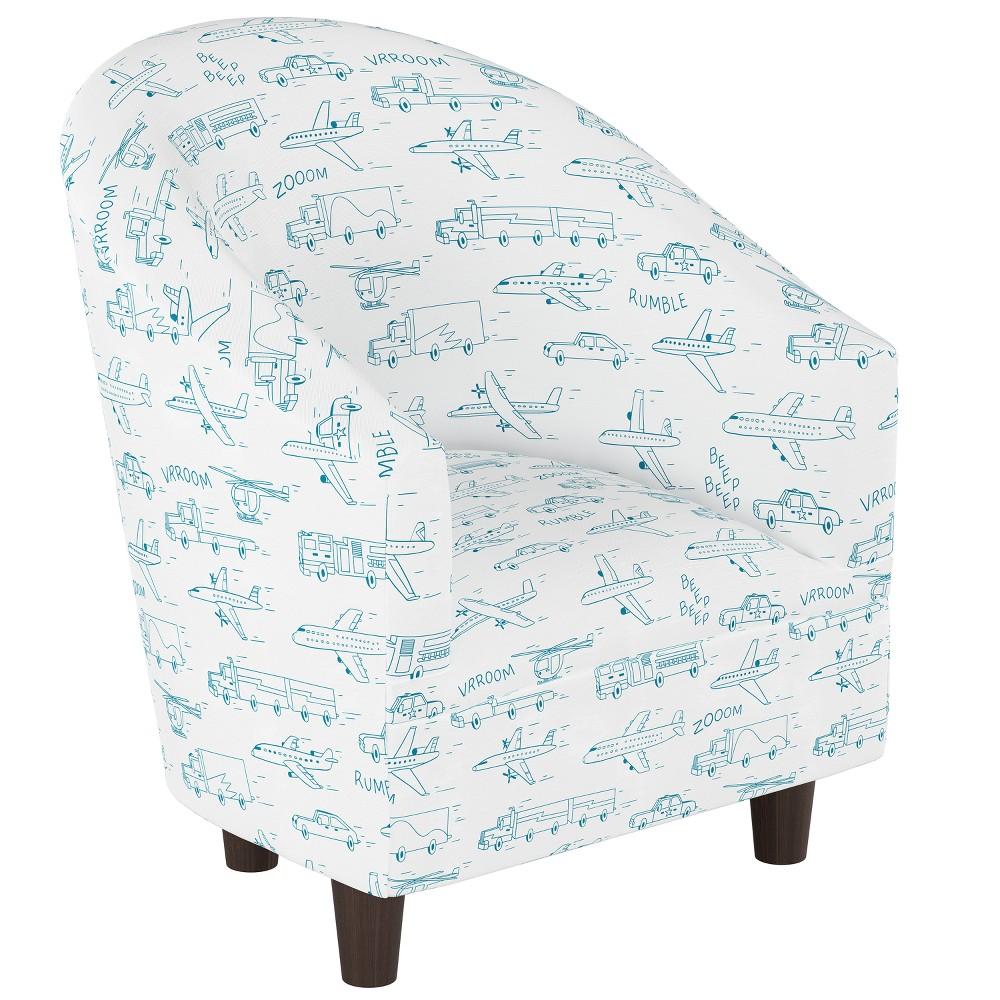 Kid's Printed Tub Chair Blue Planes with Espresso Legs - Pillowfort