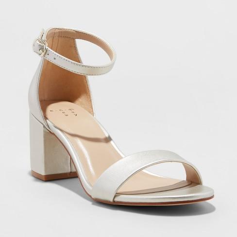 5a260ecc812 Women s Michaela Satin Mid Block Heel - A New Day™ Champagne 10   Target