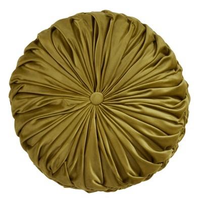 """14"""" Round Velvet Pintucked Poly Filled Throw Pillow Kiwi - Saro Lifestyle"""