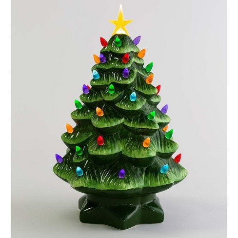 14 Indoor Outdoor Lighted Ceramic Christmas Tree Plow Hearth