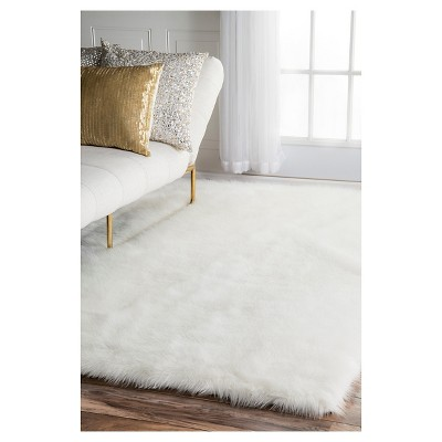 'White Solid Loomed Area Rug - (7'6''x9'6'') - nuLOOM, Size: 7' 6'' x 9' 6'''