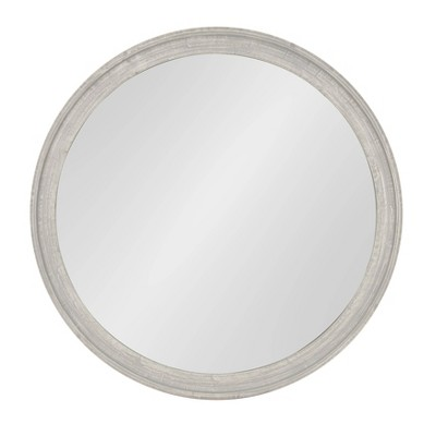 "28"" x 38"" Mansell Circular Shaped Hanging Wood Wall Mirror Gray - Kate and Laurel"