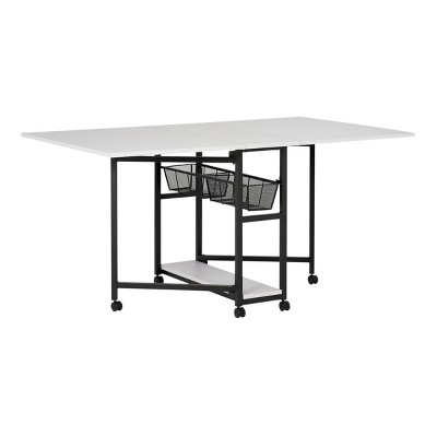 """30"""" Fixed Height Mobile Fabric Cutting Table with Storage Charcoal/White - Sew Ready"""