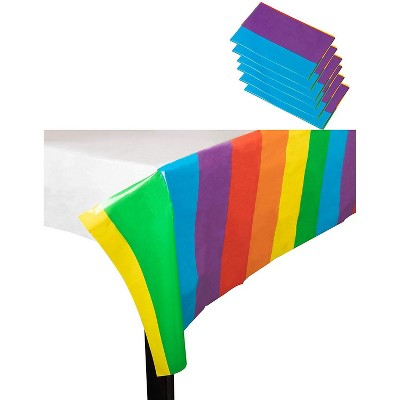 """Juvale 6 LGBTQ Rainbow Disposable Plastic Table Cover For Party Birthday, LGBT Pride Tablecloth 54x108"""""""