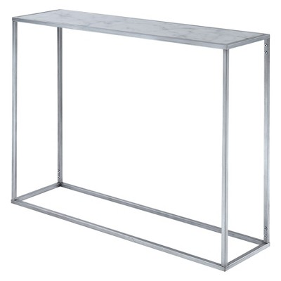 Gold Coast Faux Marble Console Table Faux Marble/Silver   Johar : Target