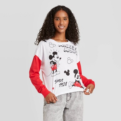 Women's Disney Mickey Cartoon Long Sleeve Graphic T-Shirt - White