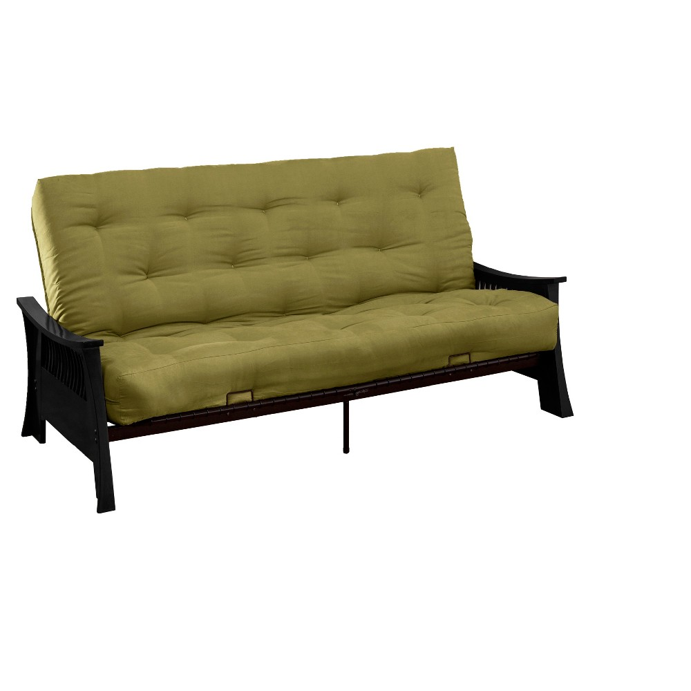 Shanghai 8 Inner Spring Futon Sofa Sleeper - Black Wood Finish - Epic Furnishings, Light Olive