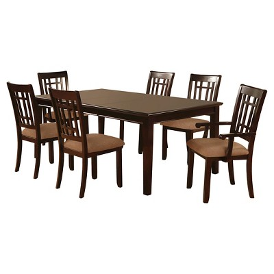 Amazing IoHomes 7pc Simple Dining Table Set Wood/Dark Cherry
