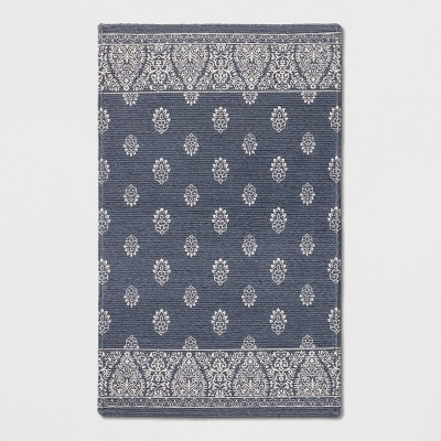 "2'6""X4'/30""X48"" Block Print Braided Accent Rug Blue - Threshold™"