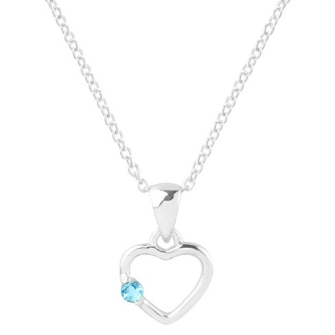 1/10 CT. T.W. Round-Cut Cubic Zirconia Pave Set Heart Birthstone Necklace in Sterling Silver - Aqua - image 1 of 2