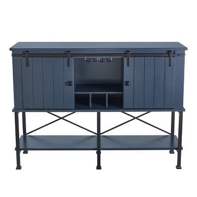 "52"" Wood Bar Cabinet with Sliding Door Gray - Home Essentials"