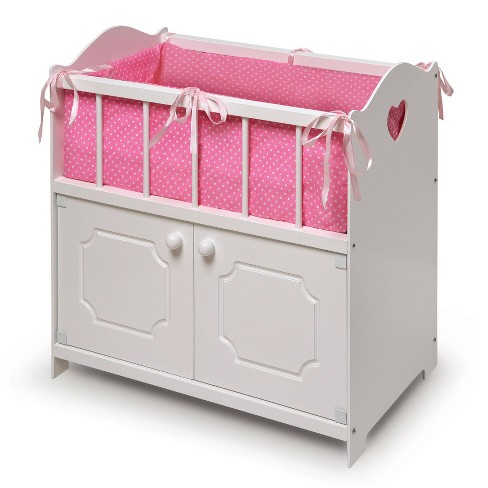 Badger Basket Storage Doll Crib with Bedding and Free Personalization Kit - White - image 1 of 4