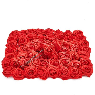 Bright Creations 60-Pack Red 3-Inch Artificial Roses Flowers with Stems, Fake Flower Heads