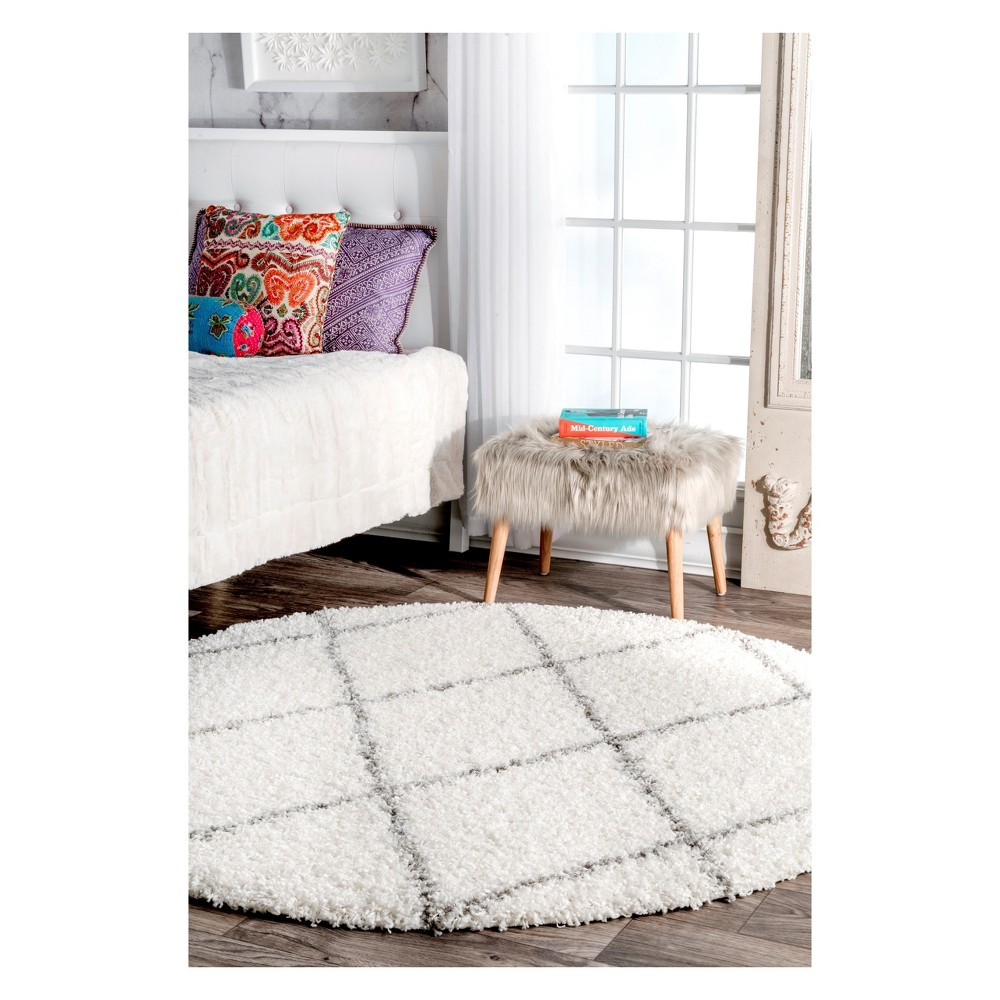 White Solid Loomed Round Area Rug 5' - nuLOOM