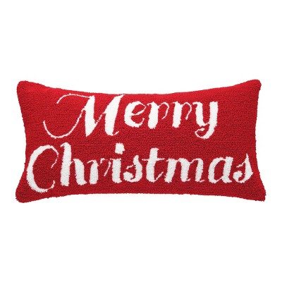 """C&F Home 12"""" x 24"""" Merry Christmas Hooked Pillow"""