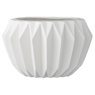 Ceramic Fluted Flower Pot - White (6 )- 3R Studios