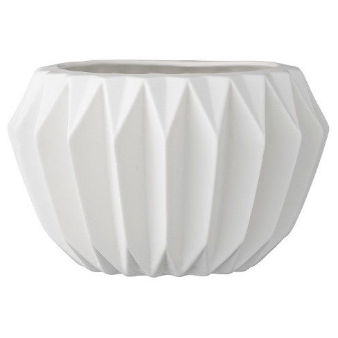 "Ceramic Fluted Flower Pot - White (6"") - 3R Studios - image 1 of 4"