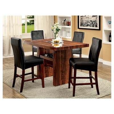 Sun U0026 Pine 5pc Faux Marble Top Block Counter Dining Table Set Brown Cherry  : Target