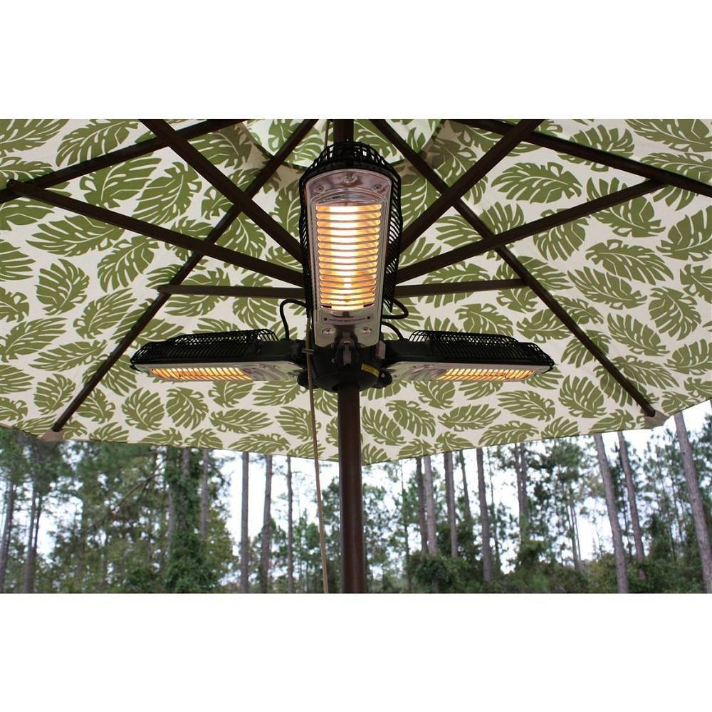 Warm up your outdoor space with the Parasol Electric Patio Heater from AZ Patio Heaters. The umbrella electric heater provides up to 15,000 BTU?s of heat with three separate burners that cover a 15-foot radius. Featuring a sturdy metal frame and fortified with weather-resistant qualities, this patio heater can be easily mounted to your umbrella pole and will help keep your guests warm as you hang out around the table on a chilly night. Gender: unisex.